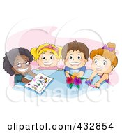 Royalty Free RF Clipart Illustration Of Happy Preschool Children Offering Drawings Candy And Flowers At A Table Over Pink