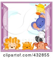 Royalty Free RF Clipart Illustration Of A Cute Animals Looking Around A Window Shutter And Over The Sill