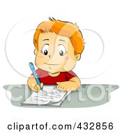 Royalty Free RF Clipart Illustration Of A Smart School Boy Writing On A Piece Of Paper