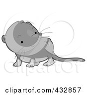 Royalty Free RF Clipart Illustration Of A Cute Gray Baby Shrew by BNP Design Studio
