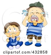 Royalty Free RF Clipart Illustration Of Baby And Toddler Boys Crying