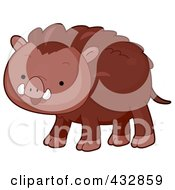 Royalty Free RF Clipart Illustration Of A Cute Wild Boar by BNP Design Studio