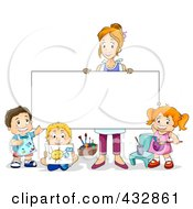Royalty Free RF Clipart Illustration Of An Art Teacher Holding Up A Blank Sign By Her Students