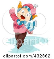 Royalty Free RF Clipart Illustration Of A Winter Girl Singing And Ice Skating by BNP Design Studio