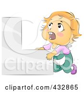Royalty Free RF Clipart Illustration Of A Baby Boy Climbing Stairs