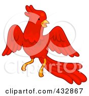 Royalty Free RF Clipart Illustration Of A Happy Red Phoenix Bird Flying by BNP Design Studio