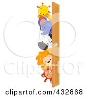 Royalty Free RF Clipart Illustration Of Cute Animals Looking Around A Door by BNP Design Studio