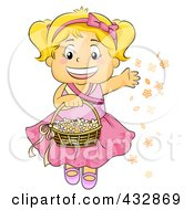 Royalty Free RF Clipart Illustration Of A Happy Blond Flower Girl Tossing Flowers by BNP Design Studio