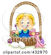 Royalty Free RF Clipart Illustration Of A Happy Blond Baby Painting Easter Eggs In A Basket