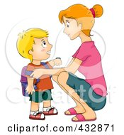 Royalty Free RF Clipart Illustration Of A Mother Crouching To Say Goodbye To Her School Boy by BNP Design Studio