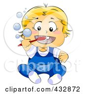 Royalty Free RF Clipart Illustration Of A Blond Baby Brushing His Teeth