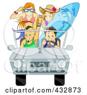 Royalty Free RF Clipart Illustration Of A Car Full Of Happy Summer Teenagers Going To The Beach by BNP Design Studio
