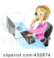 Royalty Free RF Clipart Illustration Of A Mad Customer Service Representative Talking Back To A Customer While Using A Computer And Headset