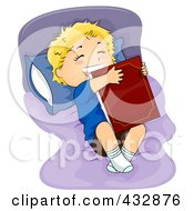 Royalty Free RF Clipart Illustration Of A Happy Boy Hugging A Bed Time Story Book On His Bed