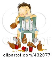 Royalty Free RF Clipart Illustration Of A Drunk Man Draped And Drooling Over A Chair