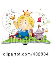 Royalty Free RF Clipart Illustration Of A Baby Imagining A Book Coming To Life