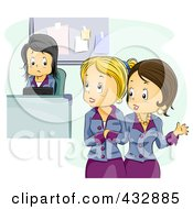 Royalty Free RF Clipart Illustration Of A Two Women Talking Bad About A Colleague