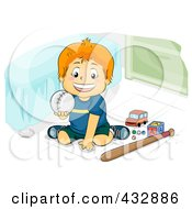 Royalty Free RF Clipart Illustration Of A Happy Boy Holding Up A Baseball In His Room