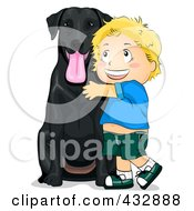 Royalty Free RF Clipart Illustration Of A Happy Boy Hugging His Black Lab Dog