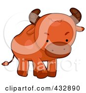 Royalty Free RF Clipart Illustration Of A Cute Baby Bull by BNP Design Studio