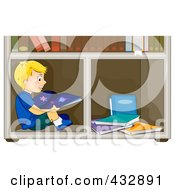 Royalty Free RF Clipart Illustration Of A Happy Boy Reading An Astronomy Book And Sitting In A Book Shelf