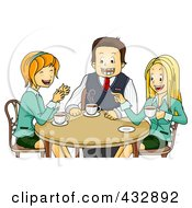Royalty Free RF Clipart Illustration Of Happy Colleagues Chatting During A Coffee Break