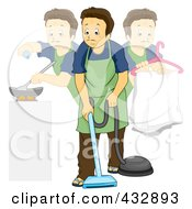 Royalty Free RF Clipart Illustration Of A Stay At Home Dad Doing Multiple Chores by BNP Design Studio