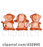 Royalty Free RF Clipart Illustration Of Three Monkeys Covering Their Eyes Ears And Mouth