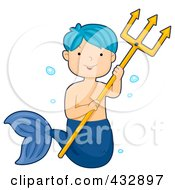 Royalty Free RF Clipart Illustration Of A Blue Haired Mermaid Boy Holding A Trident by BNP Design Studio