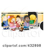 Royalty Free RF Clipart Illustration Of Preschool Children Loading A School Bus