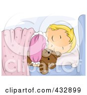 Royalty Free RF Clipart Illustration Of A Cute Girl Sleeping And Hugging Her Teddy Bear