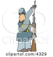 Civil War Soldier Loading His Rifle Clipart