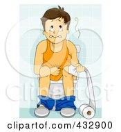Royalty Free RF Clipart Illustration Of A Man Sick With Diarrhea On A Toilet
