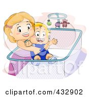Little Girl Lifting Her Baby Brother From A Crib
