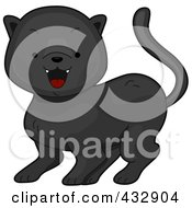 Royalty Free RF Clipart Illustration Of A Baby Black Panther Hissing