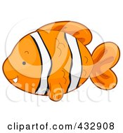 Royalty Free RF Clipart Illustration Of A Cute Clownfish In Profile