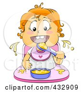 Royalty Free RF Clipart Illustration Of A Baby Girl Eating Food In A High Chair