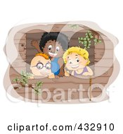 Three Boys Waving From A Window In A Tree House
