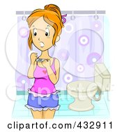 Royalty Free RF Clipart Illustration Of A Shocked Teenage Girl Holding A Pregnancy Test In A Bathroom by BNP Design Studio