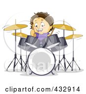 Royalty Free RF Clipart Illustration Of A Happy Boy Learning To Play The Drums