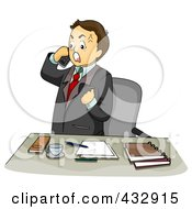 Royalty Free RF Clipart Illustration Of An Irate Businessman Talking On A Cell Phone By His Office Desk