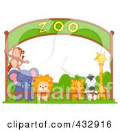 Royalty Free RF Clipart Illustration Of Zoo Animals Under A Banner by BNP Design Studio
