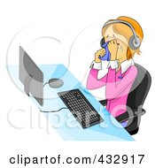 Royalty Free RF Clipart Illustration Of An Upset Customer Service Representative Crying While Sitting At A Computer And Wearing A Headset