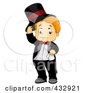 Royalty Free RF Clipart Illustration Of A Cute Boy Lifting His Hat And Wearing A Tux