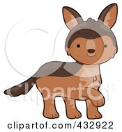 Royalty Free RF Clipart Illustration Of A Cute Walking Baby Jackal