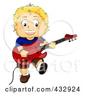 Royalty Free RF Clipart Illustration Of A Happy Boy Playing An Electric Guitar by BNP Design Studio