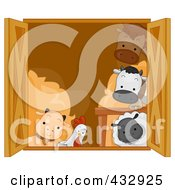 Group Of Animals Looking Out Of A Barn Window