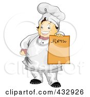 Royalty Free RF Clipart Illustration Of A Chubby Chef Holding Out A Blank Menu Board