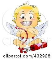 Royalty Free RF Clipart Illustration Of A Cute Blond Baby Cupid Sitting With Arrows And A Bow by BNP Design Studio