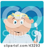 Clipart Illustration Of A Caucasian Dentist Man Holding A Mouth Mirror